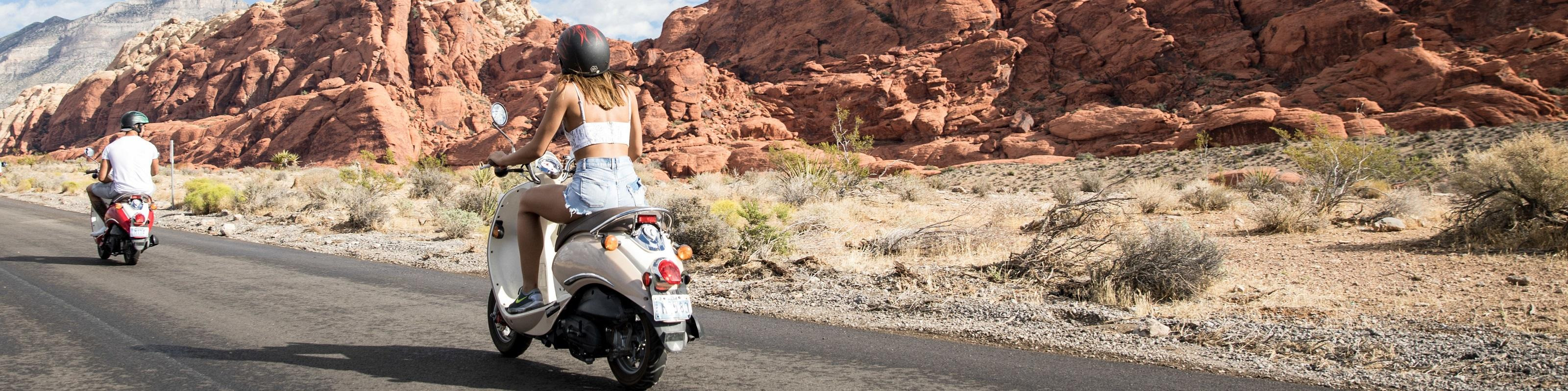 Couple on a scooter tour of Red Rock Canyon from Las Vegas