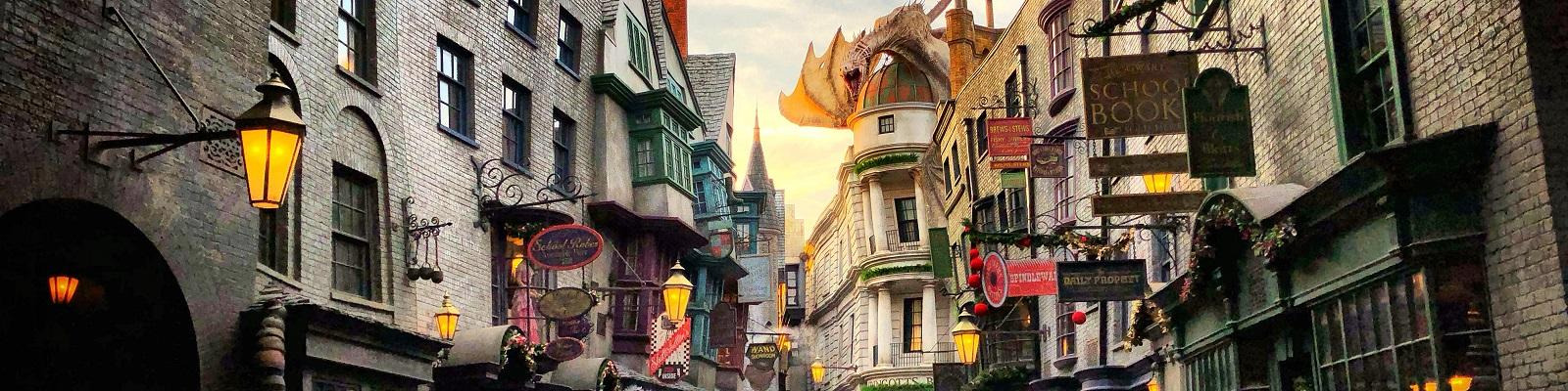 Visitors walking through Diagon Alley at The Wizarding World of Harry Potter, Universal's Islands Of Adventure