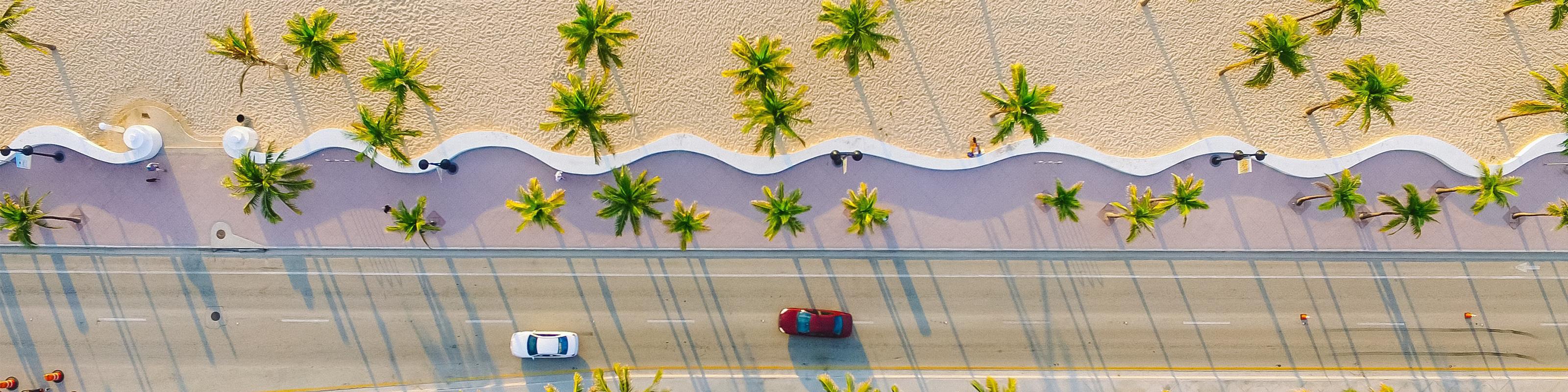 Overhead Miami beach views