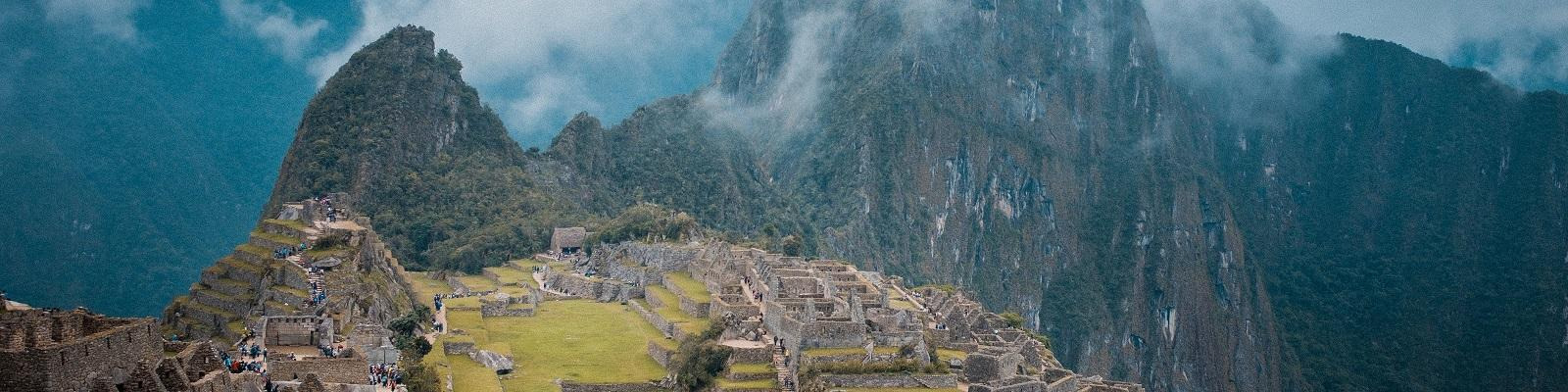 Machu Picchu as seen from above on a moody day