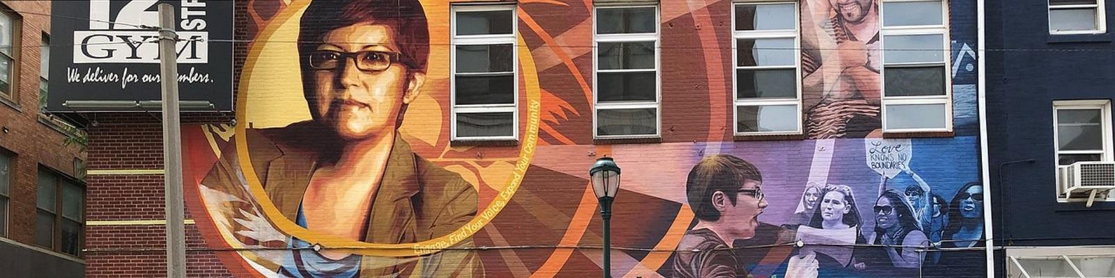 Gloria Casarez mural in Philly's Gayborhood
