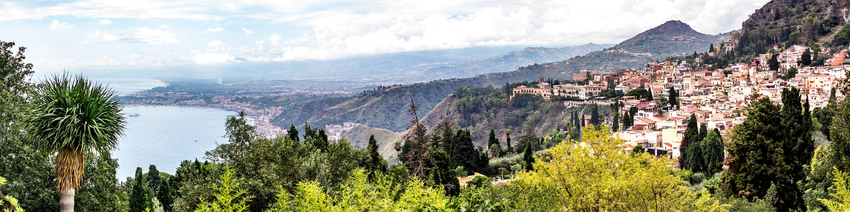 A view from Taormina at the base of Mount Etna, which is Sicily's prime wine region.
