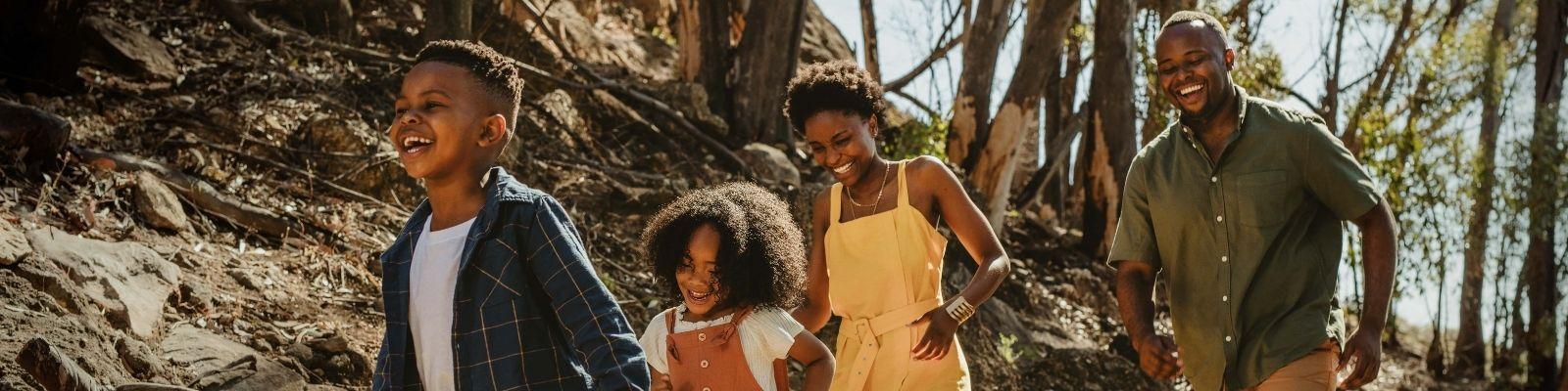 Young family enjoys a national park.