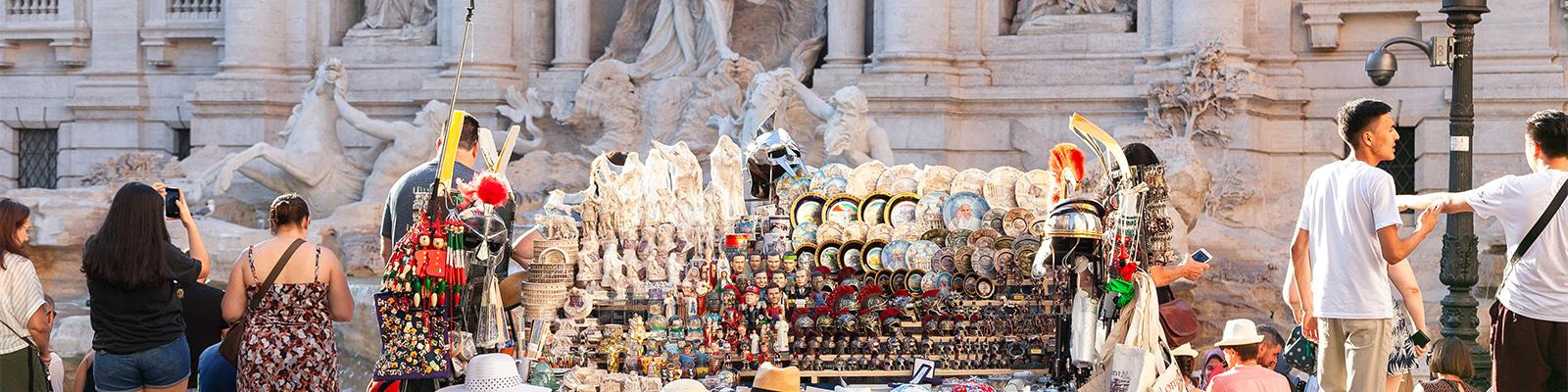 A souvenir stand at Trevi Fountain in Rome