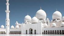 Ferrari World With Sheikh Zayed Grand Mosque From Dubai, Abu Dhabi, null