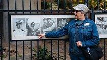 Tour guide in Harvey Milk Plaza, Castro District, San Francisco.