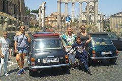 Tour Archaeological Park of Ancient Ostia in Mini Vintage Cabriolet with lunch at the port of Ostia