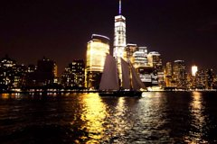 New York City Skyline Lights Sail to the Statue of Liberty on America 2.0