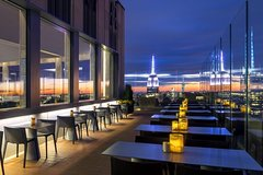 New York Skyline at Night from Rooftop, High Floor and Riverside Lounges across the Hudson and East Rivers