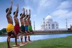 Prvate Taj Mahal Yoga Session: Yoga on the Banks of River Yamuna facing TajMahal