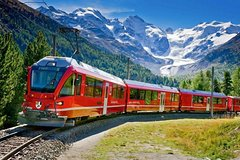 Swiss Alps and the Red train of Bernina