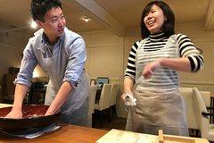 Japanese food soba experience and Hokkaido Japanese sake three kinds of drink compare plan