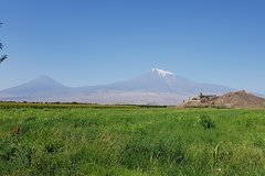 Majestic snow-capped Mount Ararat and Khor Virap Monastery