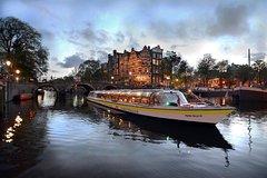Crucero por los canales de Ámsterdam por la tarde con cena de 4 platos y bebidas