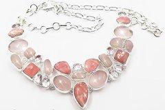 Necklace of Rhodochrosite and Rose Quartz in Silver 925