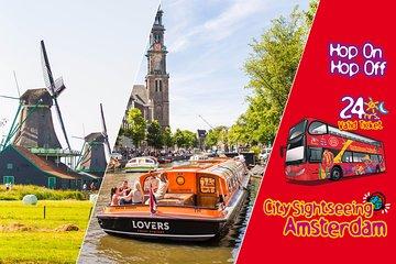 Amsterdam Hop-on Hop-off Bus, 1-hr Canal Cruise and Volendam, Marken & Windmills Tour