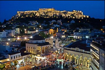 Athens at Night Small-Group Walking Tour with Dinner