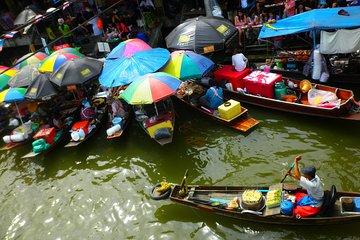Private Amphawa Floating Market and Maeklong Railway Market Fireflies Day Tour