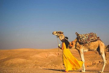 马拉喀什出发的沙漠Agafay,阿特拉斯山脉和骆驼一日游