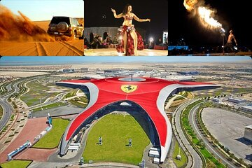Dubai Desert Safari, Live Shows and BBQ Dinner & Ferrari World Abu Dhabi (COMBO)