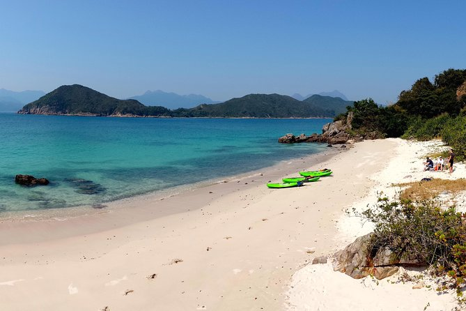 Exploring the many islands and beaches by kayak