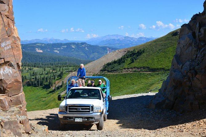 Open air tour vehicles at 12,000 feet in the Colorado alpine