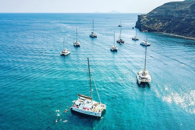 Semi Private Standard | Santorini Catamaran Cruise with Greek buffet and drinks