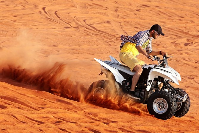 Red Dunes by Quad Bike with VIP Camp, Camels, Sandboarding & Falcon
