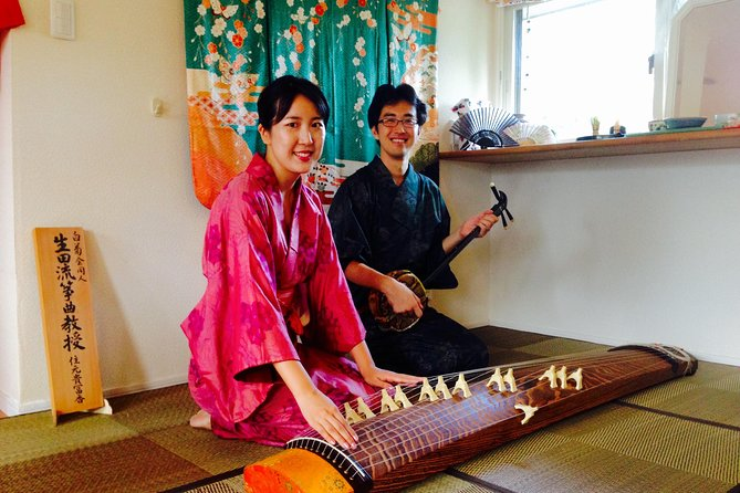Koto and Shamisen instrumnts lesson with Tea ceremony experience