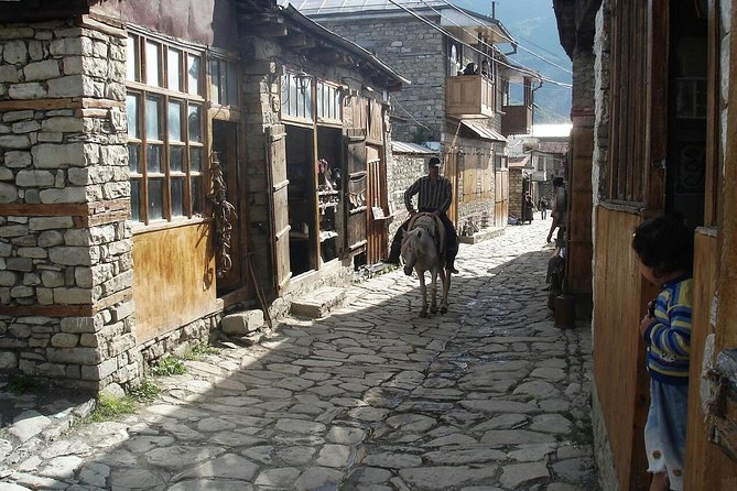 Ancient village in mountains and wine degustation