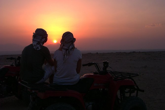El Gouna Sunset Safari tour by Quad bike, Through The Dry Canyon, and Sand Dunes
