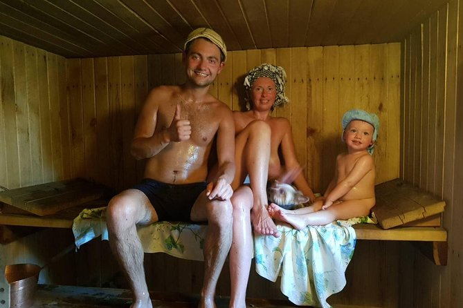 Russian Banya in the Countryside Massage and Birch Branches Home Meal