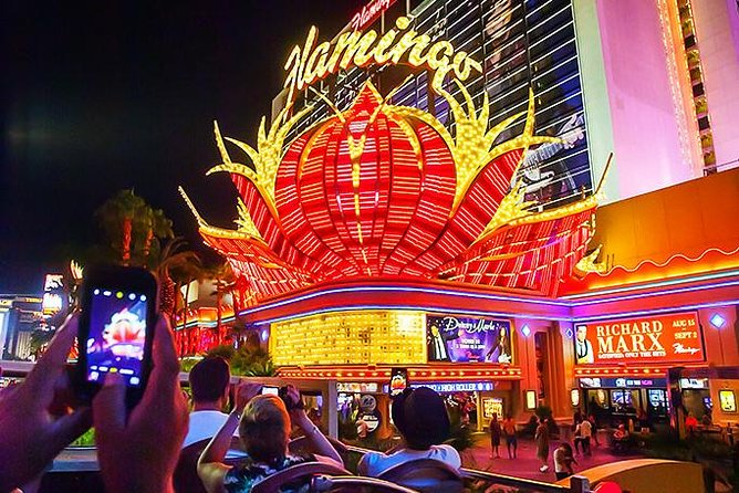The Flamingo Casino as seen from the Big Bus Las Vegas Hop-On Hop-Off night tour.