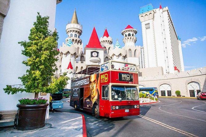 The Las Vegas Big Bus in front of the Excalibur Casino.