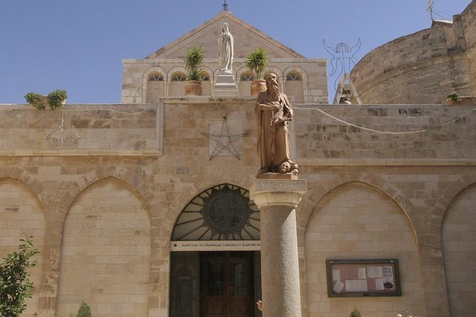 See the hallowed sites of Bethlehem, including St Catherine Church, on your full-day tour