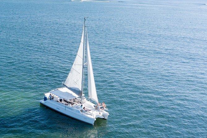 Navegación en catamarán en Puerto Morelos con corales y esnórquel