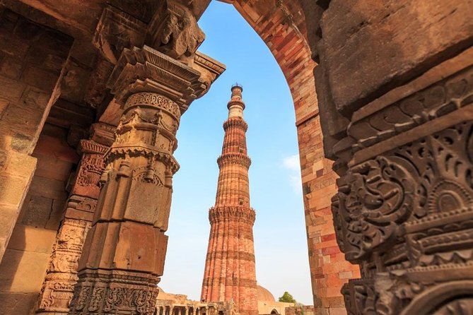 Cultural Trail Around Old Delhi Including Qutub Minar and Chattarpur Temple