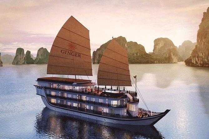 Ginger Cruise Luxury Ha Long Cua Van floating fishing village visit Titop Island