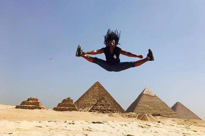 Full Giza pyramids tour solor Boat Great pyramid camel ride