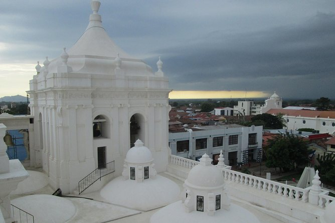 White domes on the roof of Leon Cathedral