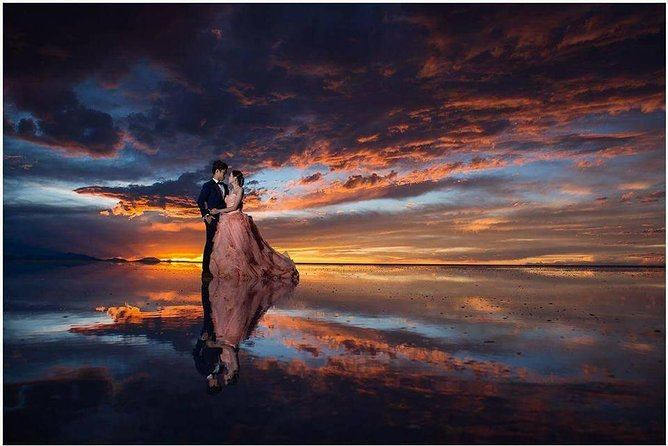 Seasonal Tour: Sunrise with Reflections in the Water, Uyuni Salt Flats
