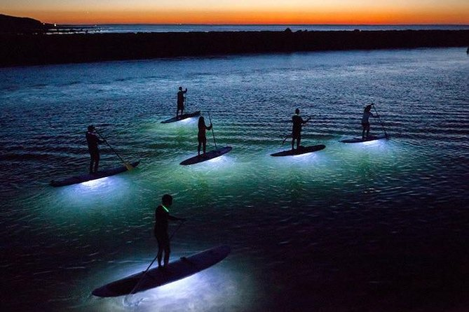 Small Group Midnight Paddle SUP with Dinner in Barcelona