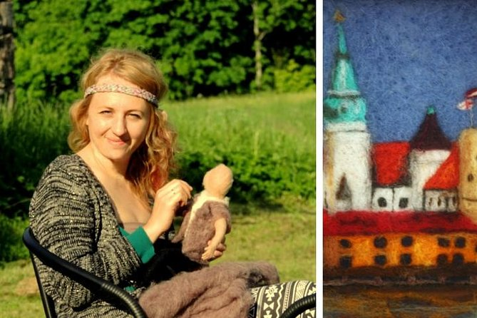 The felting master at work and felted pic of Riga