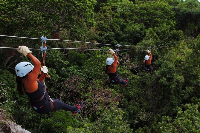Experience the Fun of 16 Ziplining with transfers and Lunch at Momi Bay