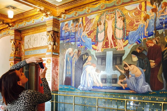 Admiring an art nouveau fresco... :)