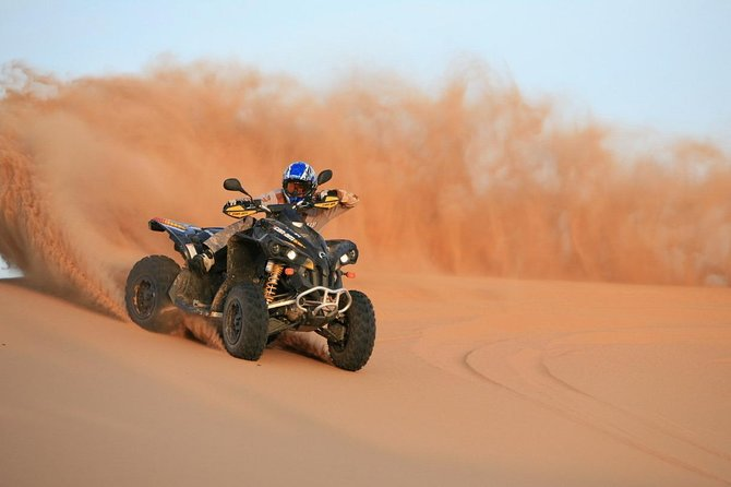 Dubai Red Dune Desert Safari with Quad Biking + BBQ Dinner + Camel Ride