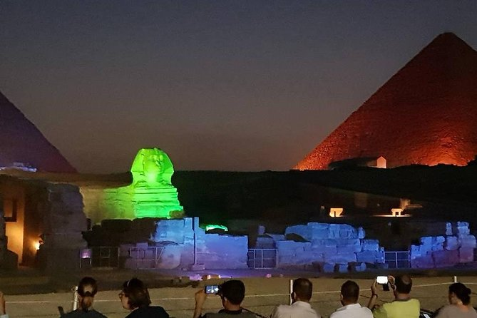 Giza Pyramids and Light Show at night with Hotel Transport