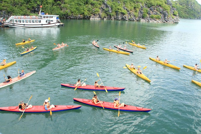 Halong Bay 10 hours cruising Tour: Kayaking, Swimming, Climbing mountain & Cave