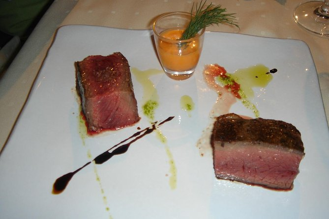 Grilled blue fin tuna loin with salmorejo
