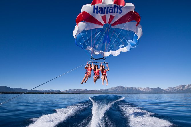 There is nothing more serene and beautiful than a parasailing adventure over breathtaking Lake Tahoe!